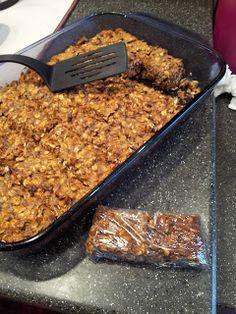 ~CINNAMON PROTIEN BARS~  -2 1/4 cups oats (roasted 10-15 mins)  -1 c. all natural peanut butter  -1/4 c. honey  -1/2 unsweetened apple sauce  -2 tbsp. dark choc chips  -1 c. whey protein   -1 tbsp. cinnamon  -2 tbsp. chia/flax seeds.