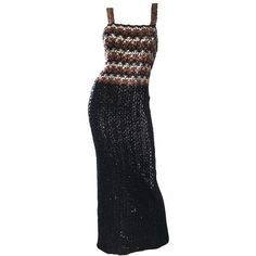 Preowned 1970s Sequined Black + Brown + Silver Vintage 70s Knit Sexy... ($895) ❤ liked on Polyvore featuring dresses, black, evening dresses, sexy vintage dresses, sexy silver dress, sexy slit dress, sleeveless dress and silver sequin dress
