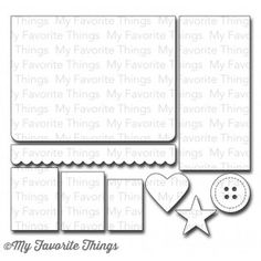 "MFT Stamps | Die-namics Blueprints 4 | Dies: Large panel 5 1/4"" x 4"", Rectangle A 4 7/8"" x 2 ¼"", Rectangle B 2"" x 1 ½"", Rectangle C 1 7/8"" x 1 3/8"", Rectangle D 1 5/8"" x 1 1/8"", Border 5 ¼"" x 5/8"", Heart 1 ¼"" x 1 3/8"", Star 1 ¼"" diameter, Button 1 ¼"" diameter."