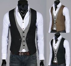 "Mens Double Layered Button Chained Waistcoats Black ""L"""