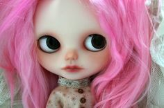 OOAK spooky little pink haired custom Blythe girl by KatinkaDolly