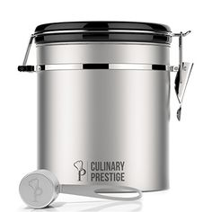 Stainless Steel Coffee Canister 16 oz - Built-in One Way Valve Blocks CO2 From Ruining Coffee Flavor - Built-in Freshness Calendar – Free eBook & Stainless Steel SCOOP by Culinary Prestige  Price: US $59.99 & FREE Shipping  #kitchen #love #home #lovedkitchen