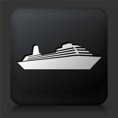 Black Square Button with Ship Icon vector art illustration