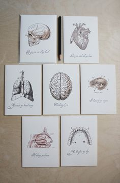 """Valentine's cards - """"Love. . .anatomically speaking"""" series // anatomical drawings // quirky love notes. $3.25, via Etsy."""