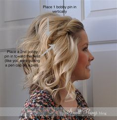 SIDE TWIST HAIR STYLE more hair ideas. I like the volume and waves. would love if I could get my hair to do that. Five Minute Hairstyles, Twist Hairstyles, Pretty Hairstyles, Latest Hairstyles, Easy Morning Hairstyles, Hairstyles For Short Hair Easy, Night Out Hairstyles, Lazy Girl Hairstyles, Bobby Pin Hairstyles