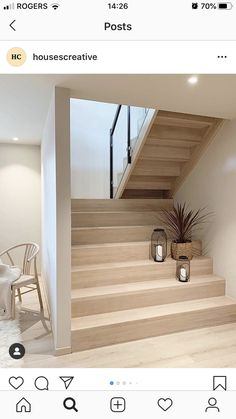 This newly built Nordic home of had caught our attention recently this year due to its simplicity in interior design and… Home Stairs Design, Interior Stairs, Home Design Decor, Home Interior Design, Interior Decorating, Design Homes, Loft Design, Design Interiors, Nordic Home