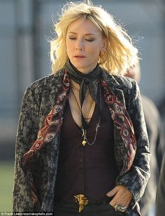 If you've got it... : Cate Blanchett was seen flashing her cleavage when in costume to star in Ocean's Eight, which was shooting in New York City on Thursday