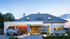 Hiacynt - zdjęcie 1 Dream House Plans, Modern House Plans, House Floor Plans, Modern Fence Design, Modern House Design, Dream Home Design, Home Design Plans, Modern Bungalow House, Casas Containers