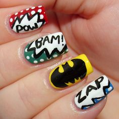 Comic-Con inspired Batman Fingernail Art (by Nicole from Dipped in Lacquer) #ComicBooks #Nails