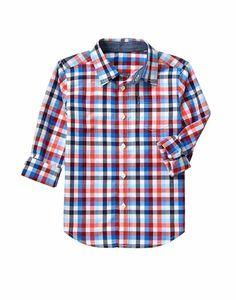 GYMBOREE COZY VALENTINE RED /& BLUE PLAID L//S WOVEN SHIRT 5 6 7 8 10 12 NWT