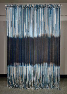 Rowland Ricketts  Mirrored  Indigo and black walnut dyed mop cotton, silk  120in x 80in