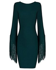 Whoinshop Women's Tassels Sleeve Open Back Bodycon Mini Bandage Dress green S * Learn more by visiting the image link.