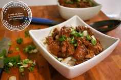 Cubes de porc à la mijoteuse à l'asiatique - Auboutdelalangue.com Best Slow Cooker, Slow Cooker Beef, Slow Cooker Recipes, Cube Recipe, Asian Beef, Meat Recipes, Yummy Recipes, Dessert Recipes, Meal Prep