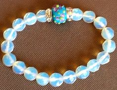 Gemstone Faceted opalescent moonstone Euro Beaded Rhinestone Ladies Stretch Bracelet Purchase and have it delivered, Free Shipping from http://www.etsy.com/shop/TahoeBlueDesigns