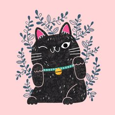 Look how cute this little guy is! 😍 🐱 He's lucky too! Illustration from Painting Inspiration, Art Inspo, Kawaii Illustration, Maneki Neko, Arte Pop, Cat Drawing, Crazy Cats, Asian Art, Cat Art