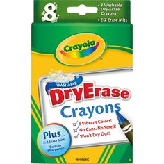 these crayola dry erase crayons easily wipe off of dry erase surfaces and washes clean