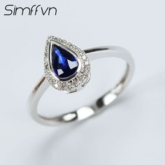 Simffvn Cluster 18K White Gold 0.41CT Drop Water Blue Sapphire Rings For Women Engagement ring Gemstone Bridal Ring