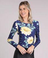 Moda body feminino brasil esportivo ace sem bojo estampado floral manga longa azul marinho