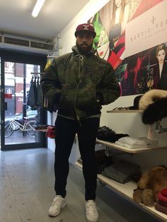 One of our customers today at our shop #Boxpark rocking this amazing 1990's camouflage bomber jacket