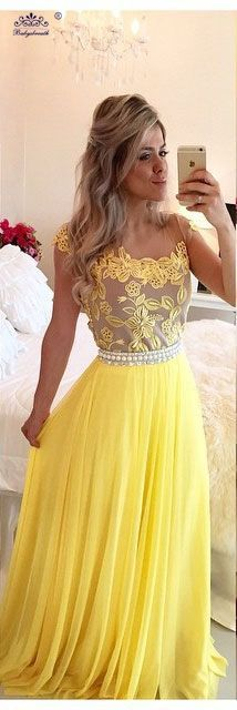 Prom Dresses 2016, Grad Dresses, Cute Dresses, Formal Dresses, Yellow Evening Gown, Lace Evening Dresses, Evening Gowns, Two Piece Homecoming Dress, Chiffon