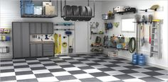 My Business, Organizing your garage. Garage floors, Cabinets, slatwall and more. PIMP your garage or make it a man cave. Garage Organization, Garage Storage, Organizing, Garage Floor Tiles, Checkerboard Floor, Garage Shed, Garage Cabinets, Shop Storage, Slat Wall