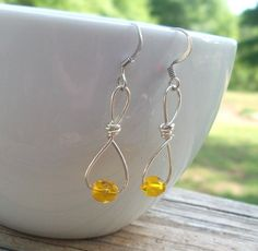 Dangle  Small Yellow Wire Wrapped Crystal Glass by BirdysNest, $8.00