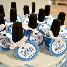 Hmmmm .... Shower Favors: Polish off the bridal/baby shower with this simple favor idea! Pick up a matching color and tie with a DIY favor tag. Mom-to-be will love pampering herself with a manicure and pedicure before baby arrives! Kick it up a notch by adding in a coordinating nail file. DONE.