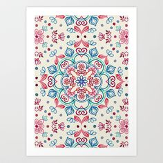 Buy Pastel Blue, Pink & Red Watercolor Floral Pattern on Cream by Micklyn as a high quality Art Print. Worldwide shipping available at Society6.com. Just…
