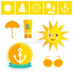Set of summer vacation beach. Umbrella sun ship sailing sunglasses royalty-free stock vector art