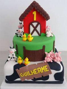 Resultado de imagem para bolo fazendinha 3 andares menino Farm Animal Party, Farm Party, Baby Birthday, 1st Birthday Parties, Birthday Cake, Petting Zoo Party, Cupcakes Decorados, Farm Cake, Doughnut Cake