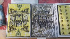 Digital prints. Dont in phitoshop to combine the scanned in images of my lino prints and pen sketches. Architecture vs nature in a symmetrical manor.