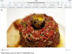 Pin for Later: 50 Things to Eat Before You Die Steak Tartare If you can stomach raw sushi, then surely you can muster up the courage to try raw steak seasoned with egg, shallot, and herbs. Steak Tartare, Vegetarian Steak, Tartare Recipe, Raw Sushi, Great Recipes, Favorite Recipes, Road Trip Snacks, Party Food And Drinks, Party Snacks