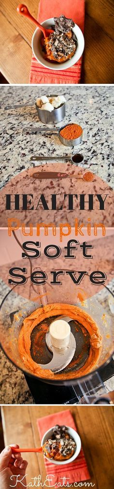 What better way to enjoy pumpkin season than with this healthy recipe for Pumpkin Soft Serve! Enjoy this guilt-free treat with @barkTHINS to make it more delicious! // KathEats.com