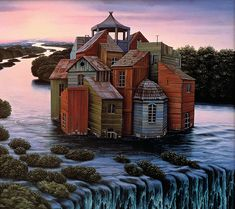 great-concavity:    Jacek Yerka    House at the waterfall