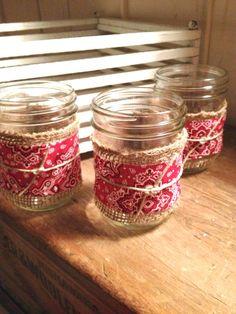 Easy to make table decoration...Mason Jar Burlap  Bandana Decor / Cowboy/Cowgirl  party