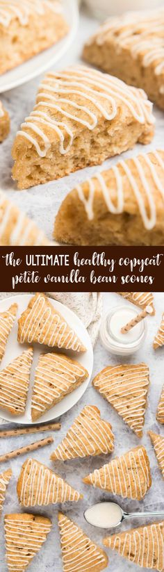 Copycat Petite Vanilla Bean Scones — only 67 calories! They're easy to make & taste SO GOOD! I'm never buying them from Starbucks again! Healthy Scones, Healthy Muffin Recipes, Healthy Cookies, Healthy Sweets, Healthy Breakfast Recipes, Healthy Baking, Vanilla Scones Recipes, Vanilla Bean Scones, Healthy Granola Bars