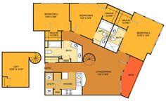 C1 floorplan (3 bed, 3 bath. 1338 sq. ft.) at Villas on Guadalupe, Austin, TX