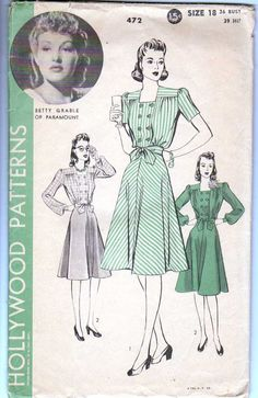 Betty Grable Hollywood Dress Pattern 1940's Size 18