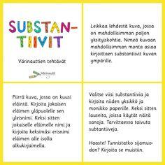 Sanaluokat - Värinautit Finnish Language, Primary English, Literacy, Homeschool, Classroom, Teaching, Opi, Class Room, Education