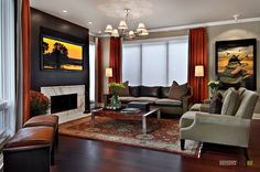 A Simply Red Curtains For Modern Large Space Hardwood Living Room With The Comfy Grey Sofa And Turkish Carpet Also The Modern Firepit And Awesome Nature Paintings Red Curtains Decorating Ideas the New Curtain Idea Home decoration