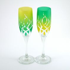 Champagne Flutes - Strands - Yellow and Green - Custom Painted Wedding Toasting Glasses. $45.00, via Etsy.