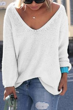 Simple V Neck Long Sleeves Pure Color Loose-Fitting Sweater For Women