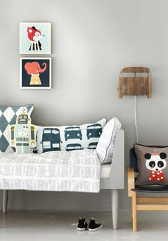 Cute children's room idea: Love the mix and match patterns.