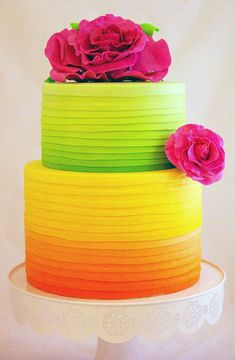 A MAJOR conversation piece. This cake will never be forgotten! Neon Wedding Cake in Citrus and Raspberry Colors