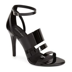 """Calvin Klein 'Mayra' Cage Sandal, 4"""" heel (8115 RSD) ❤ liked on Polyvore featuring shoes, sandals, heels, black, metallic sandals, black shoes, calvin klein sandals, high heel sandals and black high heel shoes"""