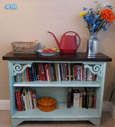 Better After: Bookcase, in your face! add a nice top and add book ends? so cute!