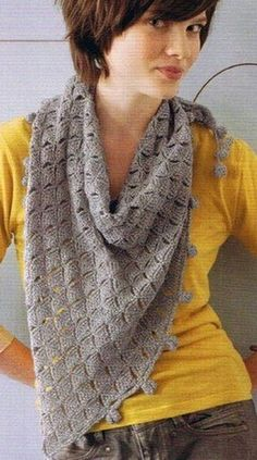 Crochet Shawl - Free Crochet Diagram - good for fine yarn Crochet Scarf Diagram, Crochet Shawl Free, Crochet Shawls And Wraps, Crochet Stitches, Crochet Patterns, Crochet Prayer Shawls, Knitted Shawls, Crochet Scarves, Crochet Clothes