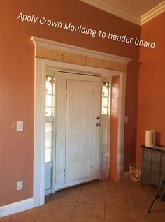 How to Make Your Front Door Look High-End (on the Cheap!) Cheap Crown Molding, Wood Crown Molding, Molding Ideas, Diy Molding, Crown Molding Styles, Door Moulding, Window Molding Trim, Moldings And Trim, Painting A Door