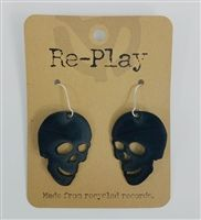 """1.5"""" Skull Earrings Made from Recycled Records by Re-Play and St. Vincent de…"""
