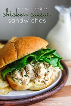 Slow Cooker Chicken Caesar Sandwiches... Looks so easy and YUMMY!!! Making these!